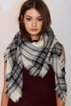 Willow Plaid Blanket Scarf - Black/Cream