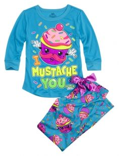 Could always use jammies....from justice: Mustache Cupcake Front Back Pajama Set