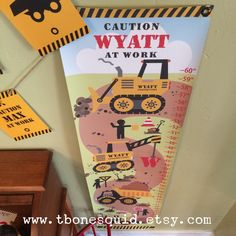 """Your little truck lover will """"GROW"""" crazy for our Construction Truck Growth Chart!"""