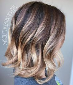 dark brown bob with blonde balayage