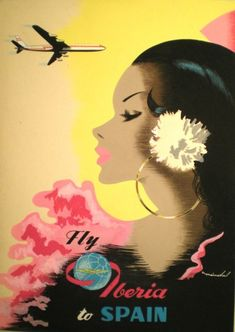 Fly Iberia to Spain vintage travel poster Vintage Travel Posters, Vintage Postcards, Vintage Ads, Vintage Airline, Retro Poster, Poster Vintage, Travel Ads, Travel Photos, Tourism Poster