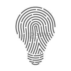 Symbol fingerprint as light bulbs. Vector illustration photo