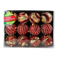 Red & Gold Sequin Ball Ornaments, 12-Pack at Big Lots #BigLots