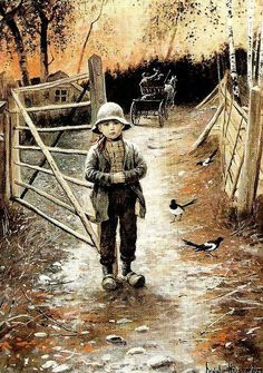 """""""Gate Boy"""" - by Jenny Nystrom Swedish) Oil Painting Frames, Paintings, Elsa Beskow, Boy Illustration, Believe In God, Baby Art, Vintage Pictures, Vintage Postcards, Troll"""