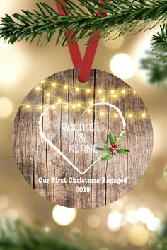 Our First Christmas Engaged Ornaments personalized our first christmas ornament Couples Gift Engagement gift Wedding Keepsake