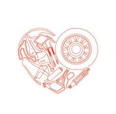 Biker love motorcycle heart valentine's day card by Katlix on Etsy