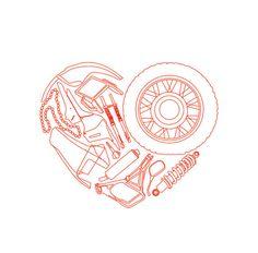 Biker love motorcycle heart valentine's day card by Katlix on Etsy