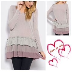 Meredith Tunic Small Light sweater knit Babydoll with contrast ruffle detail. Long sleeve tunic. Tops