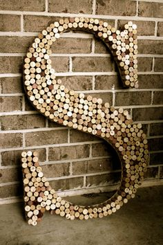 Large Recycled Wine cork wooden letter by hammerandpaint on Etsy, $99.99