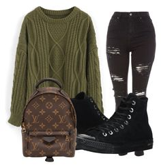 """Casual"" by diana-gheatau on Polyvore featuring Topshop, Chicwish, Converse and Louis Vuitton"