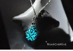 glow in the dark filigree flower lace teardrop pendant - silver plated locket - sterling silver necklace - glow in the dark jewelry