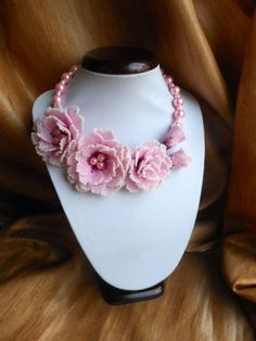Beaded Necklace with roses Tenderness by BeadedJewelryVirunia