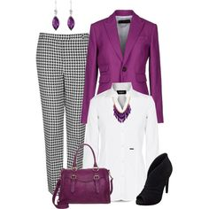 """Purple Blazer Outfit"" by penny-martin on Polyvore"