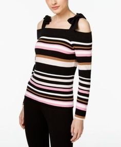 Inc International Concepts Cold-Shoulder Bow Sweater, Only at Macy's - Black XS