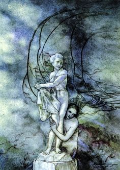 Arthur Rackham - She put her arms round the marble figure which was so like the prince; Little Mermaid - Fairy Tales by Hans Andersen, 1932