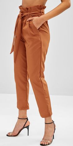 Brown High Waisted Side Pockets Paper Bag Pants Women Style: Fashion Material: Polyester Waist Type: High Fit Type: Tapered Pattern Type: Solid Pant Style: Straight Closure Type: Zipper Fly Source by zaful fashion pants style Fashion Pants, Fashion Outfits, Womens Fashion, Style Fashion, Classy Outfits, Casual Outfits, High Wasted Pants, Type Of Pants, Pants Style