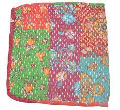 Industrious Vintage Kantha Quilt Indian Handmade Cotton Bedspread Sashiko Throw Bedding Home, Furniture & Diy
