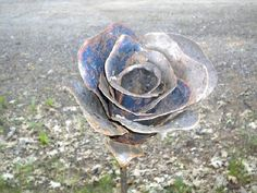 A hybrid Tea Rose metal sculpture shaped by hand from an old car hood