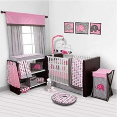 Baby Girl Bedroom Set Nursery Bedding Elephants Pink Grey 10 PC Crib Infant Room for sale online Pink Bedding Set, Baby Crib Bedding Sets, Crib Sets, Nursery Bedding, Girl Nursery, Nursery Fabric, Nursery Ideas, Nursery Bag, Nursery Themes