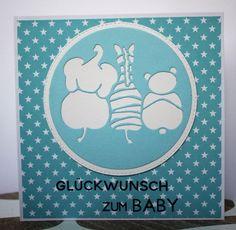 Babykarte zur Geburt mit Sternchen und den Stempeln und der süßen Stanze von #creativedepot