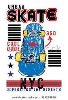 urban new york skateboard,t-shirt print poster vector illustration