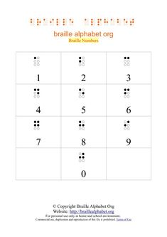 Printable Braille Number Charts in PDF Braille Alphabet, Number Tattoos, Going Blind, Number Chart, Teaching Career, Prayer Quotes, Nursery Rhymes, Pre School, Book Club Books