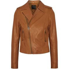 Joie Ailey leather biker jacket (1.825 BRL) via Polyvore featuring outerwear, jackets, camel, leather motorcycle jacket, camel jacket, slim fit motorcycle jacket, camel leather jacket e biker jacket