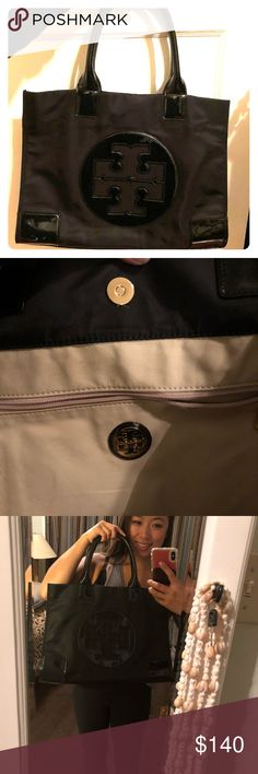 Tory Burch mini ella black nylon tote brand new Black tote, was a gift and still has dust bag. Super cute just doesn't match my closet. Tory Burch Bags Totes