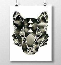 Wolf Print, Black and White, Modern Woodland Animal, Minimalist, Geometric Watercolor Wolf Print