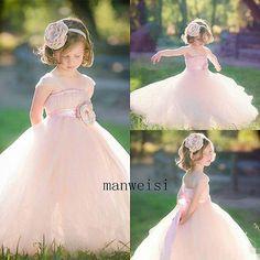 New Tulle Flower Girl Dresses Flowers Tutu Birthday Ball Gown Pink Custom