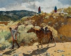 Artwork by Walter Ufer, Trailing Homewards, Made of Oil on canvas kp