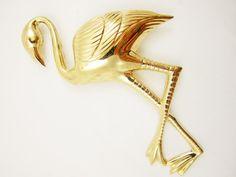 Sterling Flamingo Pin Gold Wash Vermeil Huge by LadyandLibrarian #ladyandlibrarian