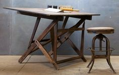 mod 50's architects wooden drafting table & stool.........fabulous work space...