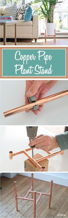 Make this beautiful copper pipe plant stand and give the mid-century modern a shiny, new look! So easy to make yourself, this DIY gives you all the details with pictures, make it a must try: http://www.ehow.com/how_12343014_diy-raised-copper-pipe-plant-stand.html?utm_source=pinterest.com&utm_medium=referral&utm_content=freestyle&utm_campaign=fanpage