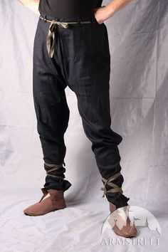 BLACK COTTON PANTS WITH LACING