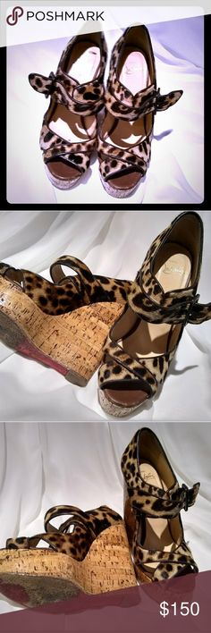 CL Leppard wedge Size 7 almost brand new Christian Louboutin Shoes Wedges