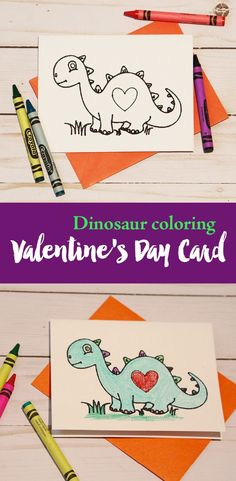 Dinosaur coloring card for valentines day. Using markers and the write function on your Cricut. Don't have a cricut there is also a free printable. Easy Valentine's Day craft with the kids. Dinosaur Valentines, Valentines For Kids, Valentine Day Crafts, Valentine Ideas, Valentines Weekend, Valentine Party, Valentine's Cards For Kids, Diy For Kids, 4 Kids