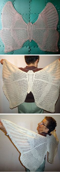 Knitting pattern for Just a Butterfly Shawl - lace shawl shaped like butterfly by Sharon Winsauer, Size: Approximately 47 x 36 inches. Pictured project is by bigsnakes. More pics on Etsy (affiliate link)