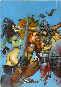 Simon Bisley original cover for Scrap Book. I loved the gal in the cover. Kind of sinewy, but sexy. His gals are hardly like that. I figure he's still rubbing off his Slaine phase for better or worse.