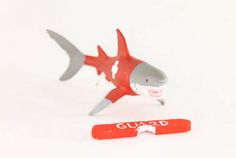 Great White Shark cake topper and party decor. Lifeguard shark with patly eaten bouy. Shark birthday party, ocean party. Room decor