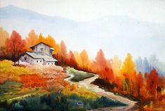 Watercolor Landscape Paintings, Landscape Drawings, Abstract Landscape, Fall Landscape, Landscapes, Autumn Illustration, Autumn Painting, Landscape Photography, Deco