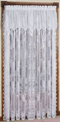 The large-scale rose pattern on the Carly Lace Curtain Panel with Attached Valance offers a soft look with a sophisticated style. Polyester lace panel has.