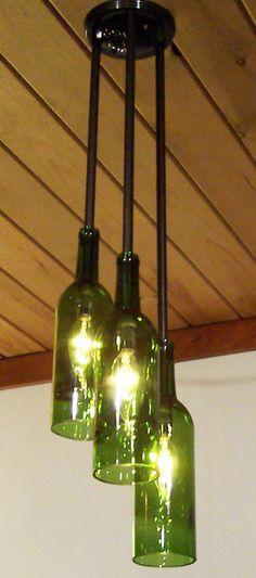 Recylced Wine Bottle ChandelierThree's a Crowd by hmsc93 on Etsy, $150.00