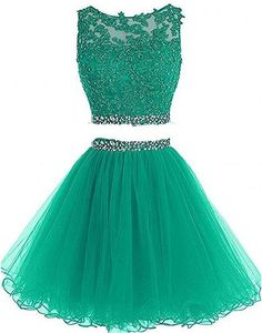 Pettus Women's Two Pieces Lace Bodice Beaded Short Prom Dress Homecoming Dresses Cute Formal Dresses, Homecoming Dresses Tight, Pretty Prom Dresses, Beautiful Dresses, Elegant Dresses, Dama Dresses, Hoco Dresses, Dresses For Teens, Quinceanera Dresses