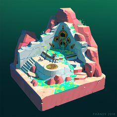 ArtStation - The Reach: Desert Dioramas, Andrew Porter Bg Design, Game Design, Environment Concept, Environment Design, Game Environment, Desert Diorama, Mini Mundo, Isometric Art, Landscape Concept