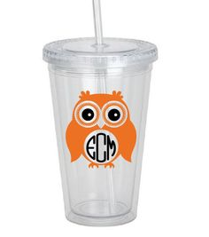 16 oz. Double Wall Plastic Tumbler with Straw by PartyLoversCrafts