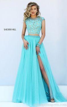 2016 Lace Open Back Sherri Hill Two Piece Prom Dress 50110 Blue