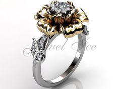 14k two tone white and yellow gold diamond unusual por Jewelice