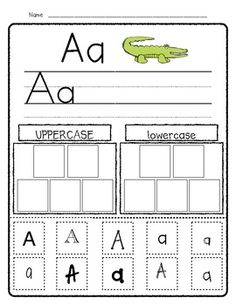 The Alphabet Pack (Freebie). Love the top part would be awesome to use alphabet stamps for the uppercase and lowercase part. Learning Letters, Alphabet Writing, Alphabet Stamps, Preschool Alphabet, Alphabet Crafts, Alphabet Book, Letter Activities, Letter Worksheets, Letter Recognition