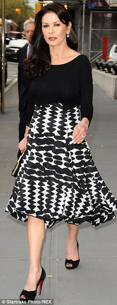 Catherine Zeta-Jones  **Love this outfit, specially the print.
